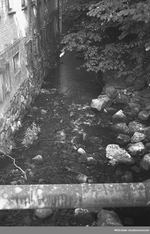 Vattendrag med rör över. Hösten 1994.