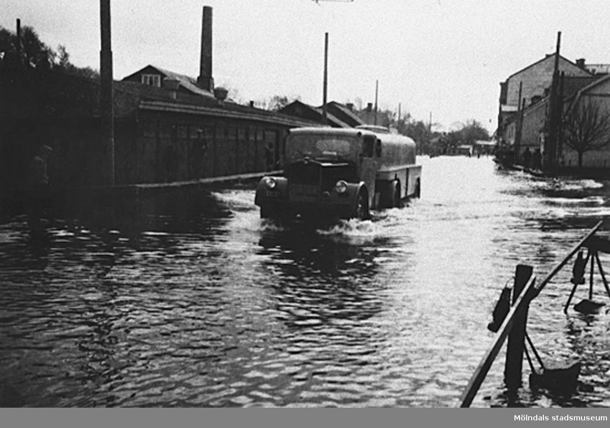 Översvämning i Mölndals centrum.
