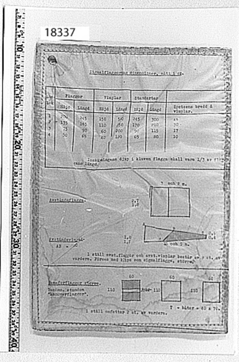Papper, A4-format, fästat mellan två tunna plastskivor som är maskinsydda runt kanten. Hål i vänster övre hörn hål för upphängning. Maskinskriven text, färgade teckningar. Olika måttabeller över flaggors dimentioner: Ena sidan : signalflaggor, avståndsflagga, avståndsvimpel, semaforflagga större. Andra sidan: semaforflagga mindre, standert för frälsarkrans, signalflagga, fartflaggor.