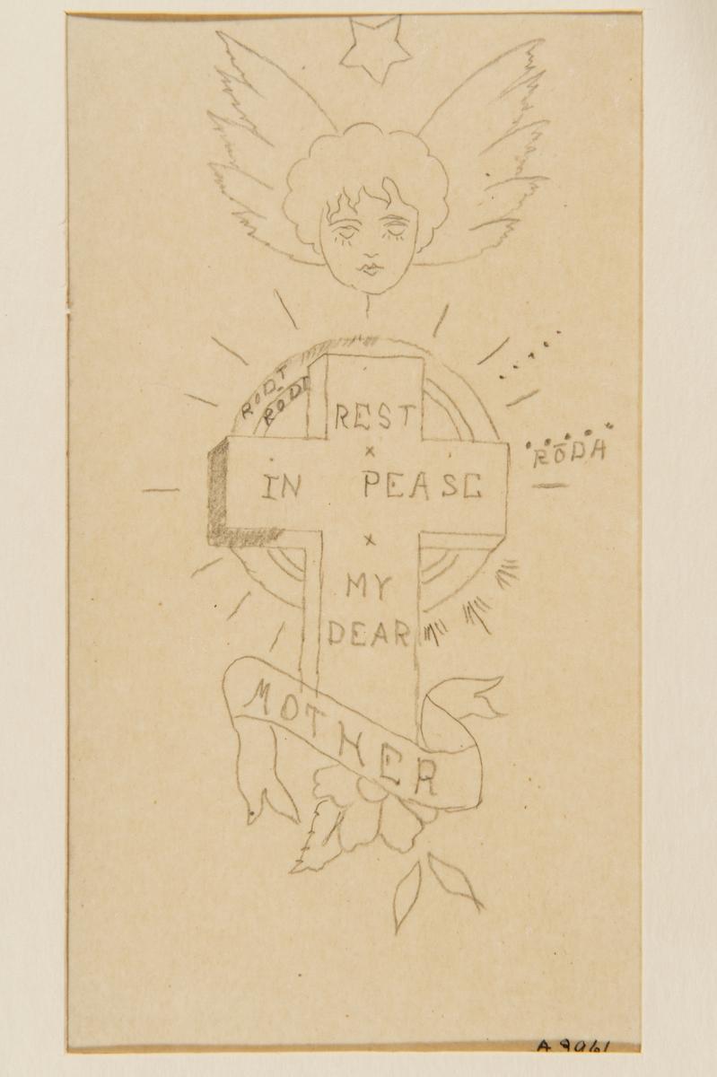 """Tatueringsförlaga. Ett kors med påskriften """"REST IN PEASE MY DEAR"""" med en banderoll med påskriften """"MOTHER"""" i förgrunden. I bakgrunden en röd sol. Överst ett änglaansikte omgivet av vingar samt en stjärna."""