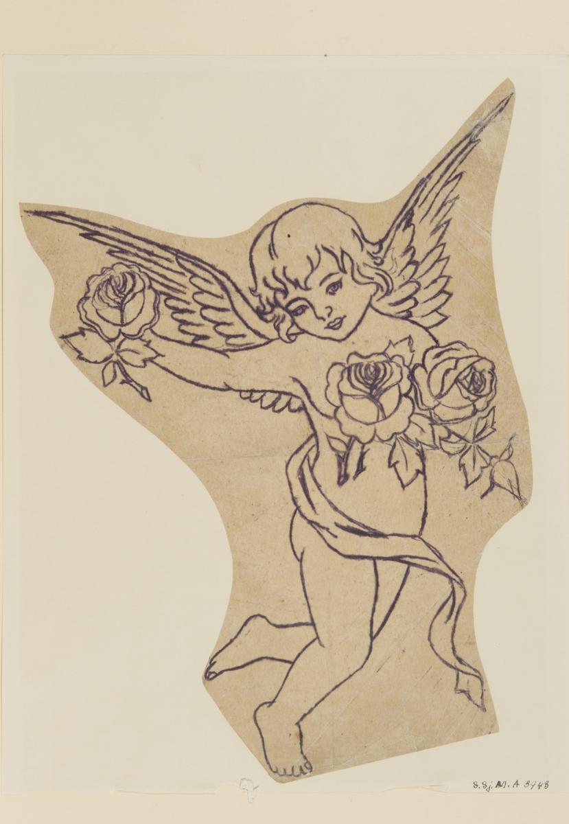 """Tatueringsförlaga. Ung ängel med rosor i händerna.  """"Inte en klassisk sjömanstatuering. Det är ovanligt med bilder av barn. Det är också ovanligt med keruber eller änglar, även om kristna motiv förekommer. Bland mytologiska motiv är sjöjungfrur vanligare än änglar. Rosorna däremot är klassiska sjömansmotiv, och är ofta avbildade på ett sensuellt sätt. Rosor kan tolkas på många sätt. Från rent dekorativa element till en symbol för kvinnan.""""  Text från appen """"Tatuera dig med Sjöhistoriska"""" som gjordes i samband med utställningen Tro, hopp och kärlek 2012."""
