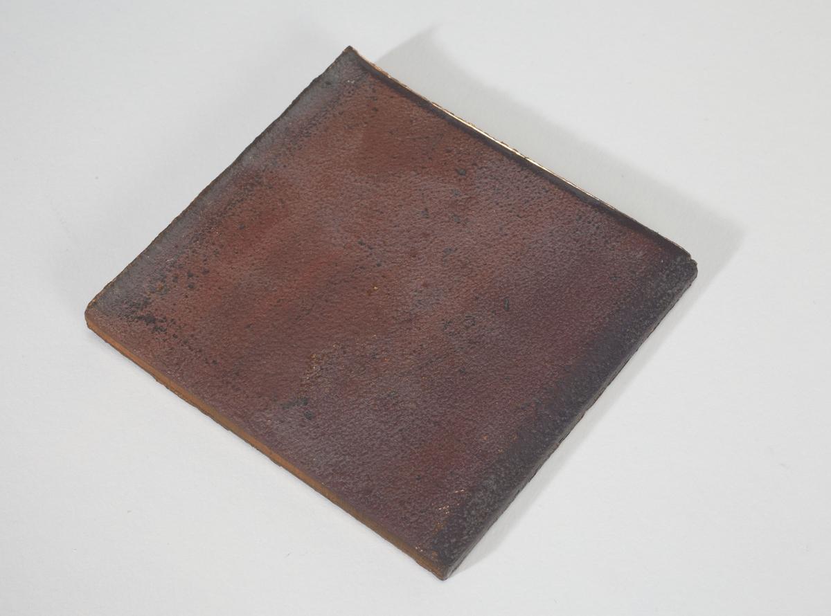 En firkantet kobberplate.