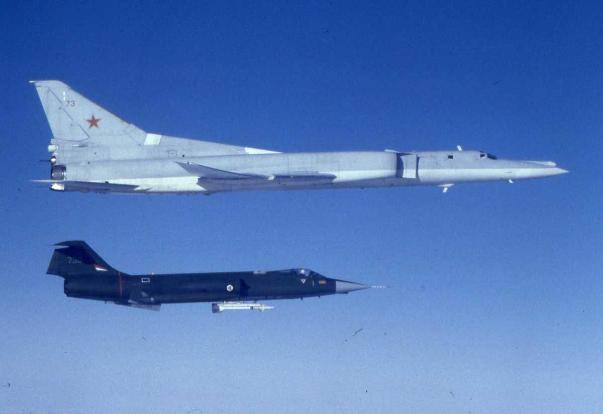 Russisk fly av typen Backfire B med nr. 73 og under en norsk CF-104G Starfighter med nr. 730.