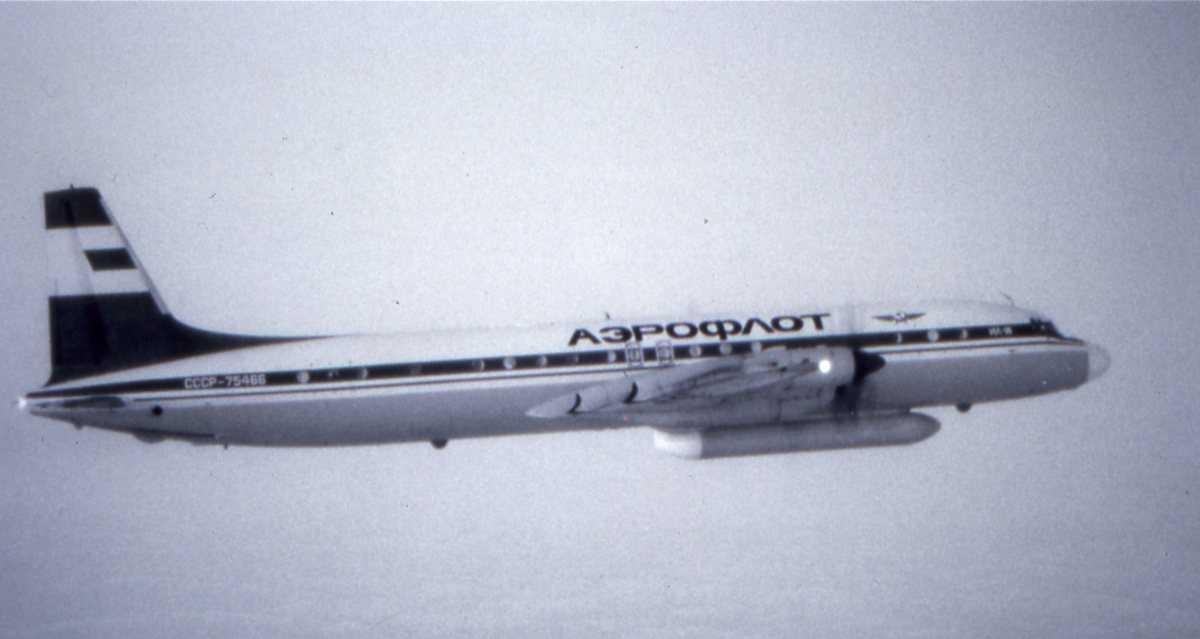 Russisk fly av typen Ilyushin II-18 Coot tilhørende Aeroflot med merking CCCP-75466.