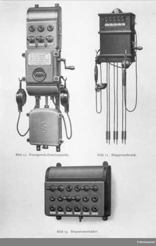 Telefon for høyspenningsanlegg, Siemens. Fig 11: Telefon mellomstasjonsapp. Fig 12: Sentralbord. Fig 13: Proppfelt. Elektrisk Bureau.
