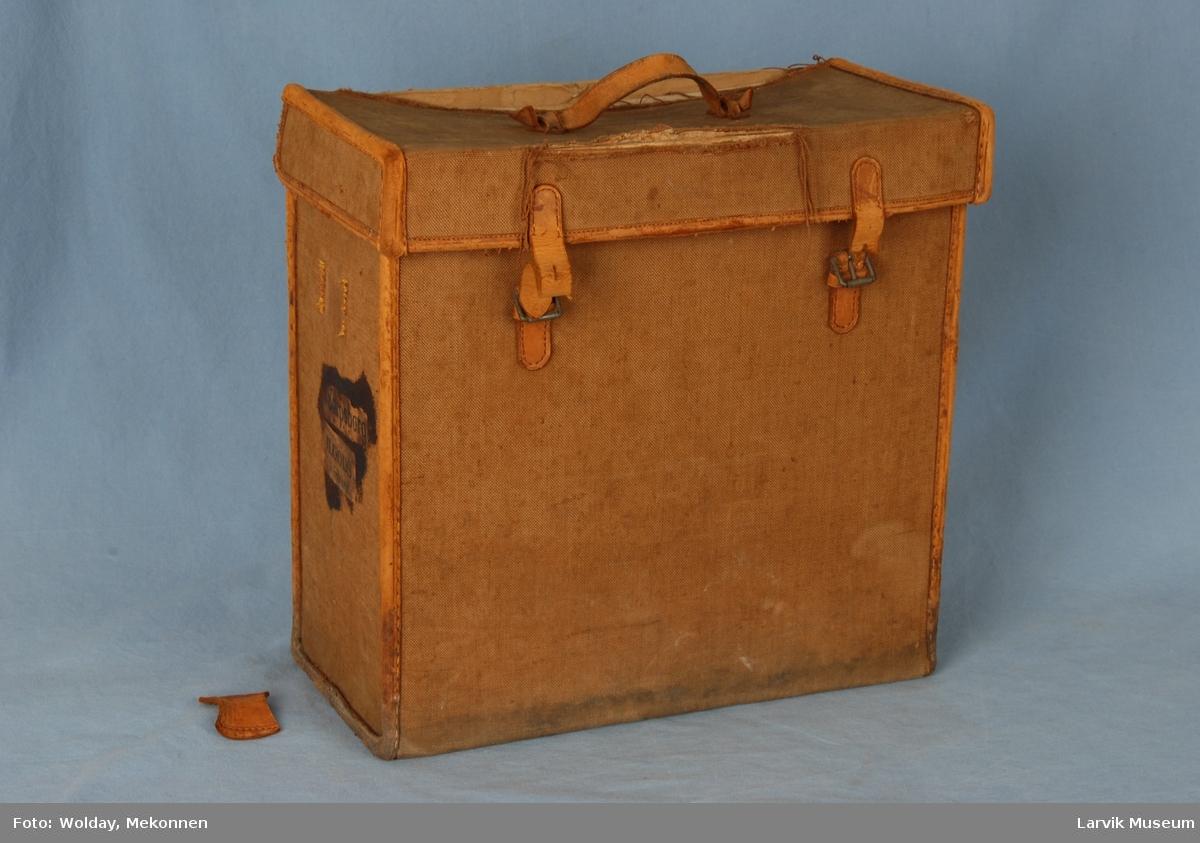 Form: Rektangulær, rettkantet veske med lokk i toppen som henger fast i bakkant og kan vippes opp. Stropper  som festes i spenner foran. Lærhåndtak på lokket.
