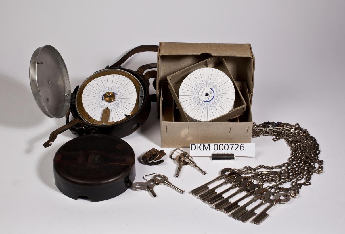 Kontrollur og eske som inneholder stemplingskort og nøkler.