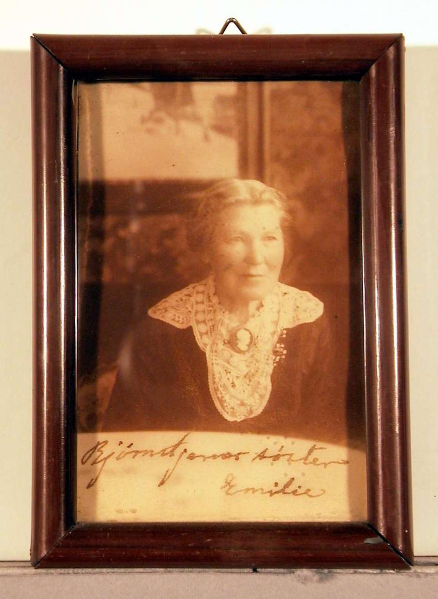 Portrett; kvinne sittende med stuevegg i bakgrunnen. Hun er kledd i mørk kjole med en stor kniplingskrave ut over skulder og bryst, i midten festet en stor brosje med ilagt kamè; frisyren er oppsatt bak.
