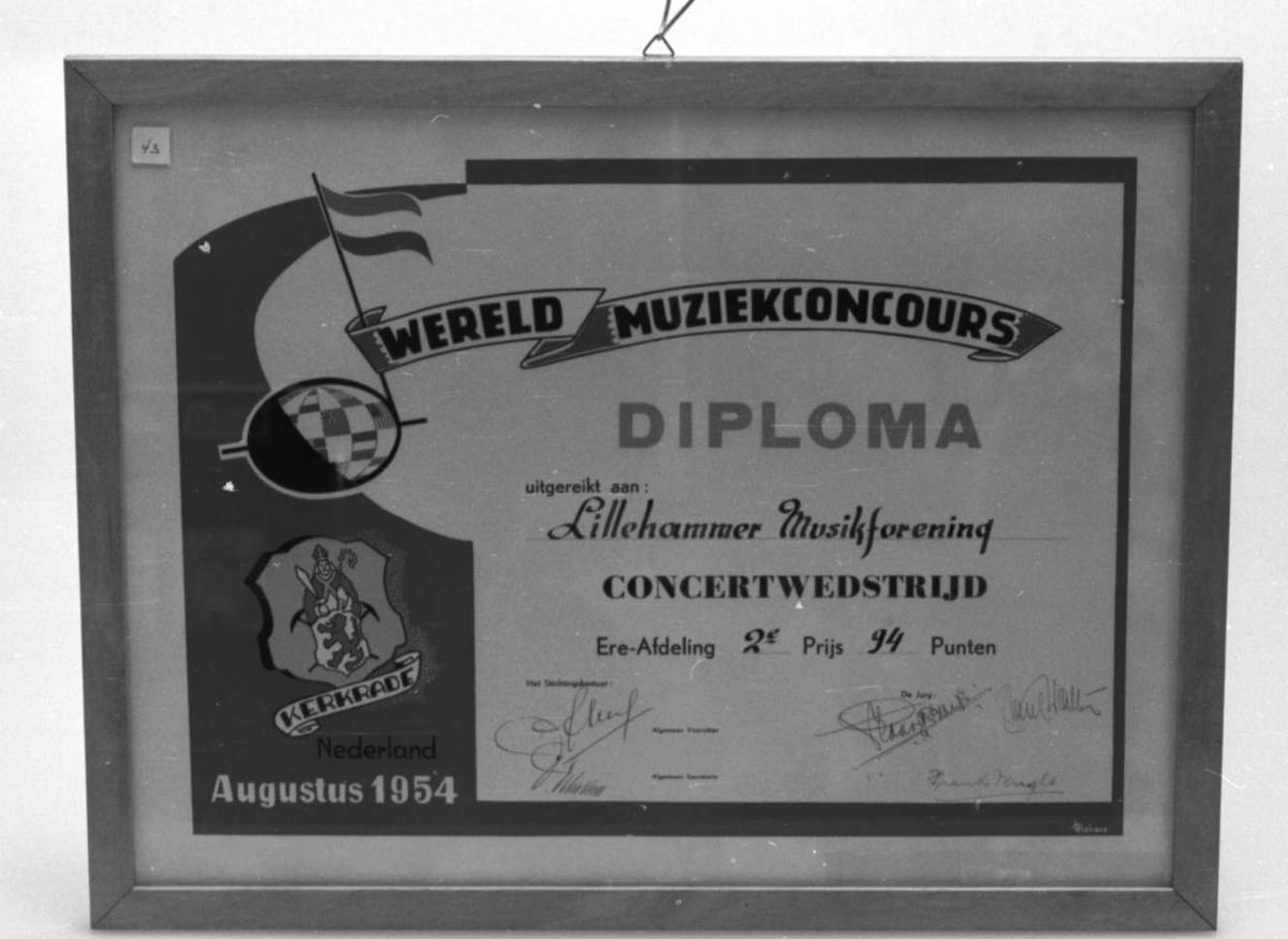 Diplom i lakkert treramme.