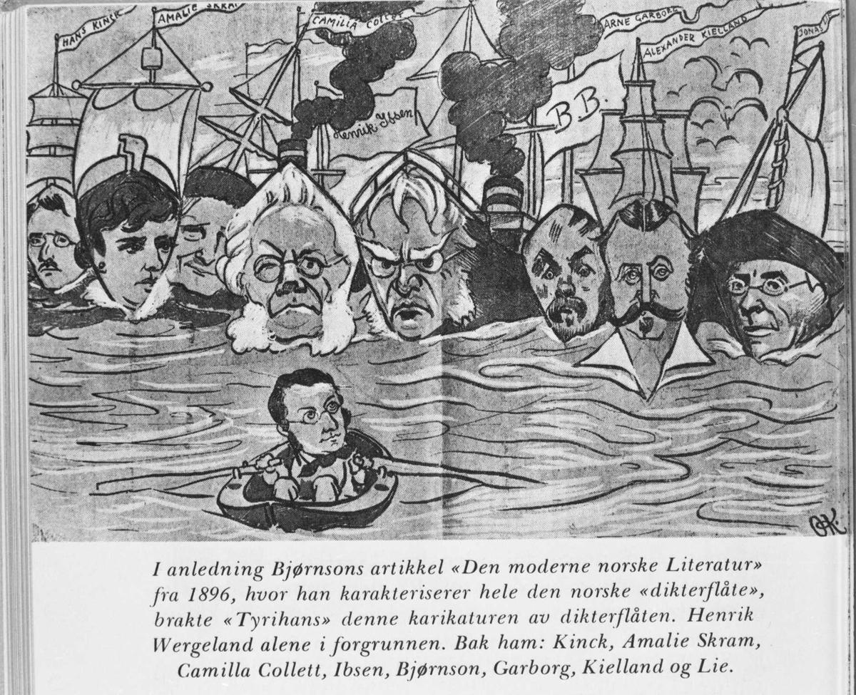 Karikatur, dikterflåte, Tyrihans, Wergeland, Kinck, Skram, Collett, Ibsen, Bjørnson, Garborg, Kielland, Lie