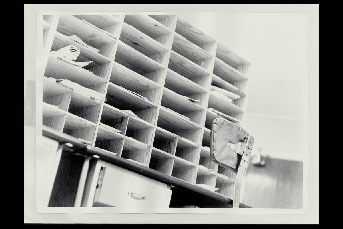 interiør, postkontor, 9750 Honningsvåg, sorteringsreol