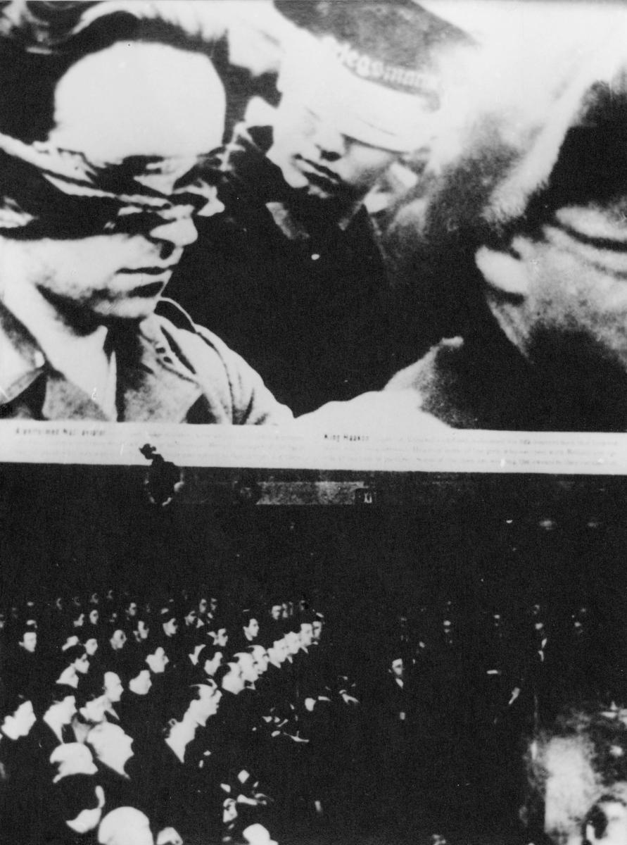 krigen, 2. verdenskrig, britisk/norsk raid, Lofoten, menn med bind for øynene, menn samlet i en sal