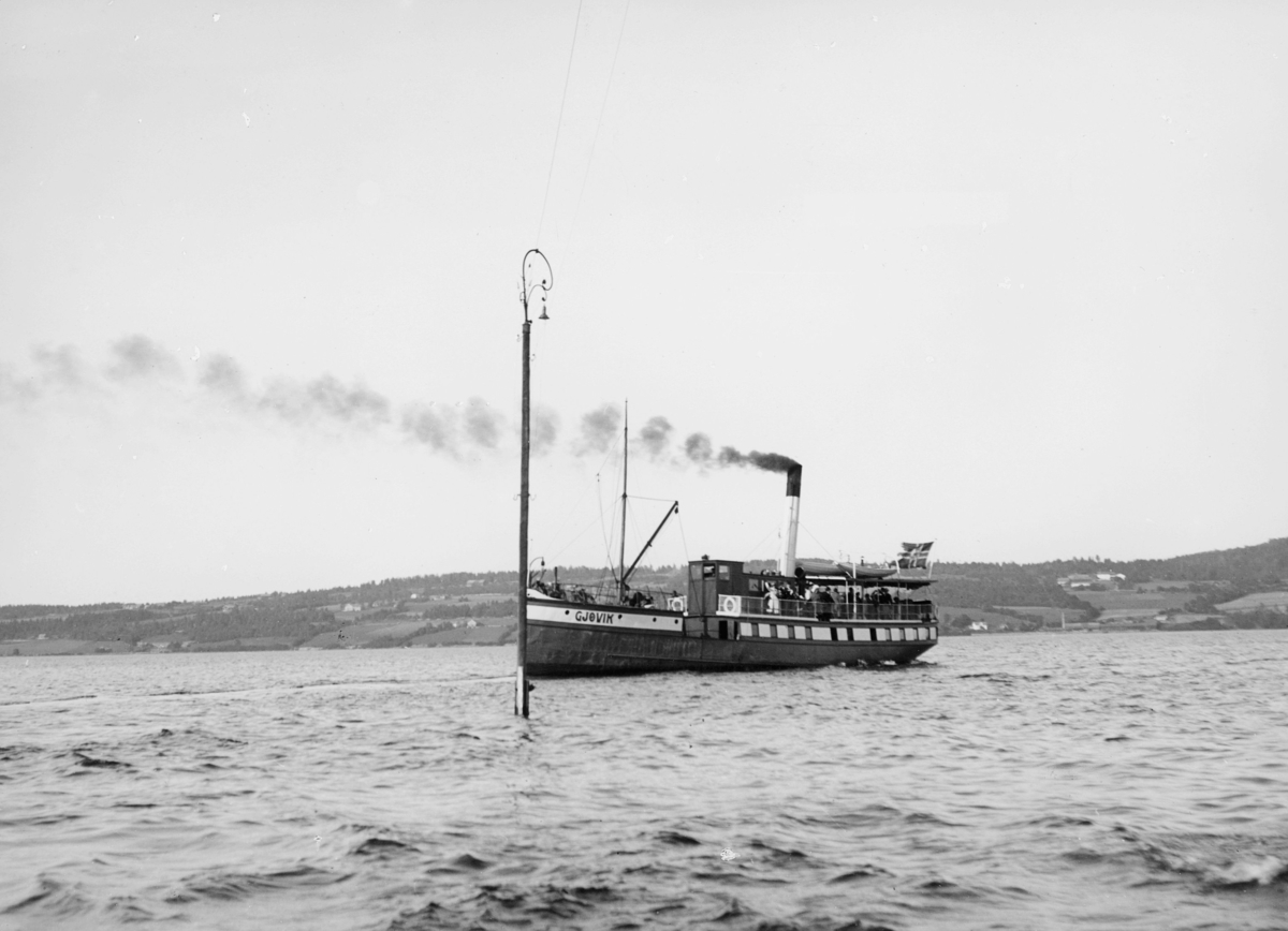 transport båt, eksteriør, Mjøsa, D/S Gjøvik, postflagg