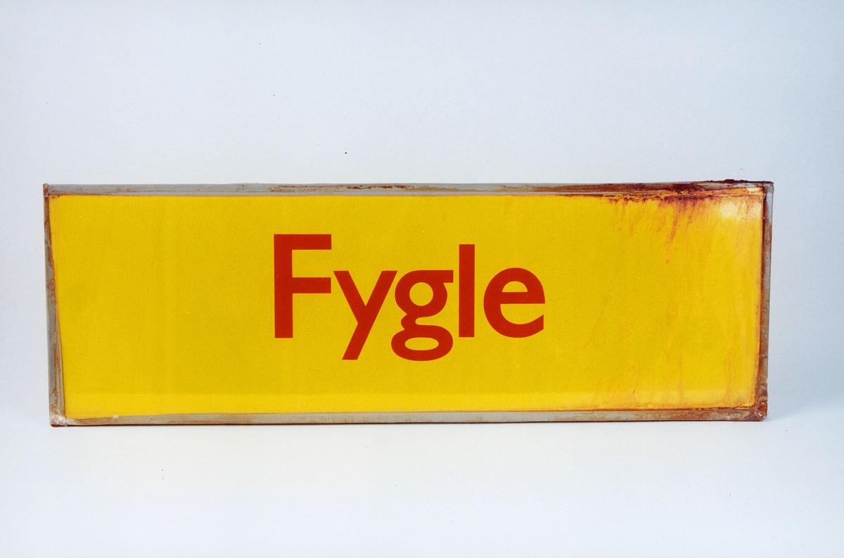 Postmuseet, gjenstander, skilt, stedskilt, stedsnavn, Fygle.