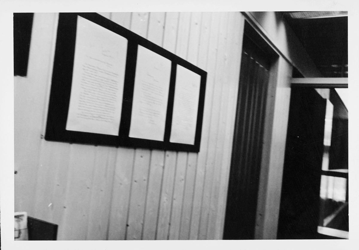 markedsseksjonen, Oslo postgård 50 år, utstilling, informasjon, festet på vegg