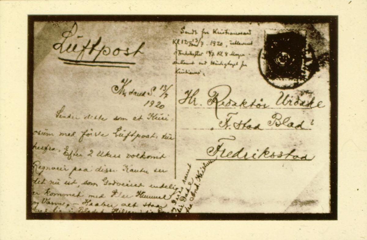 luftpost, luftpostruter, Horten-Kristiania-Horten-Arendal-Kristiansand og retur, sendt 13.7.1920, postkort med Luftpost, håndskrevet