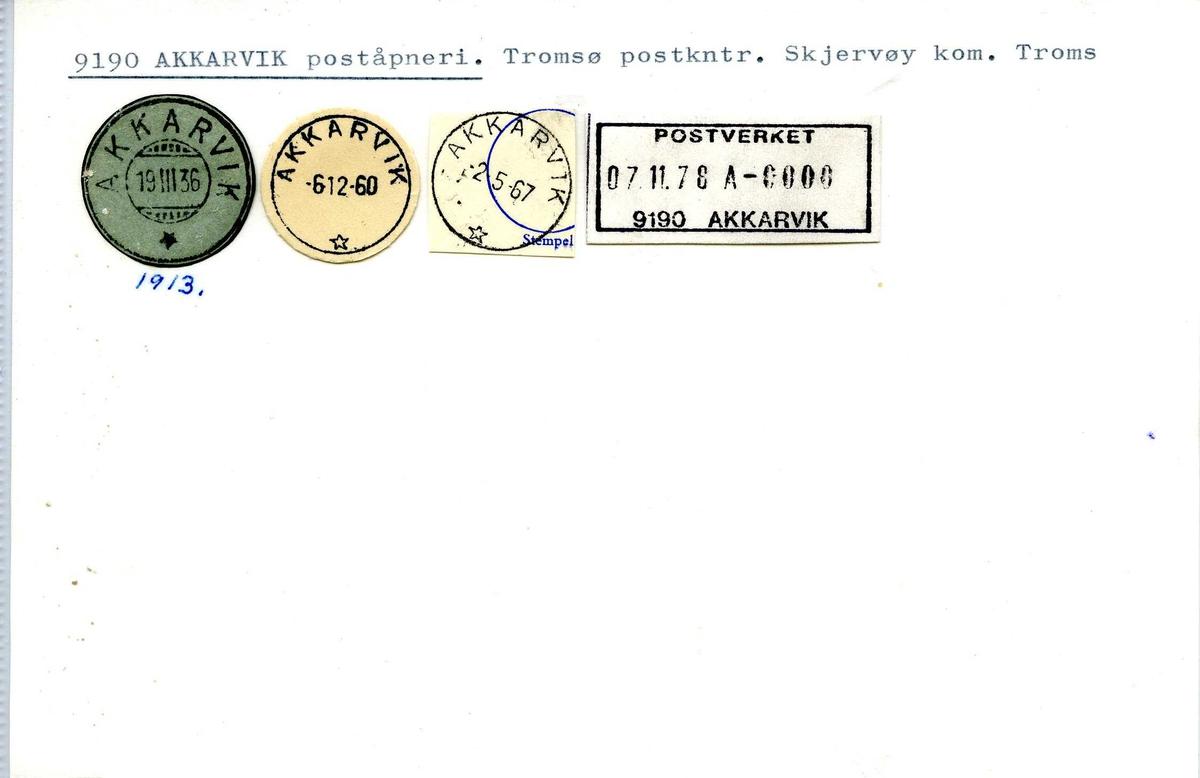 Stempelkatalog,  Akkarvik poståpneri, Tromsø postkontor