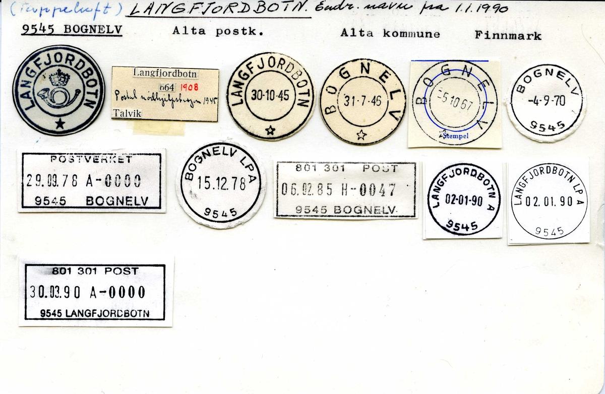 Stempelkatalog,9545 Bognelv, Alta postk., Alta kommune, Finnmark (Fra 1.1.1990 Langfjordbotn)
