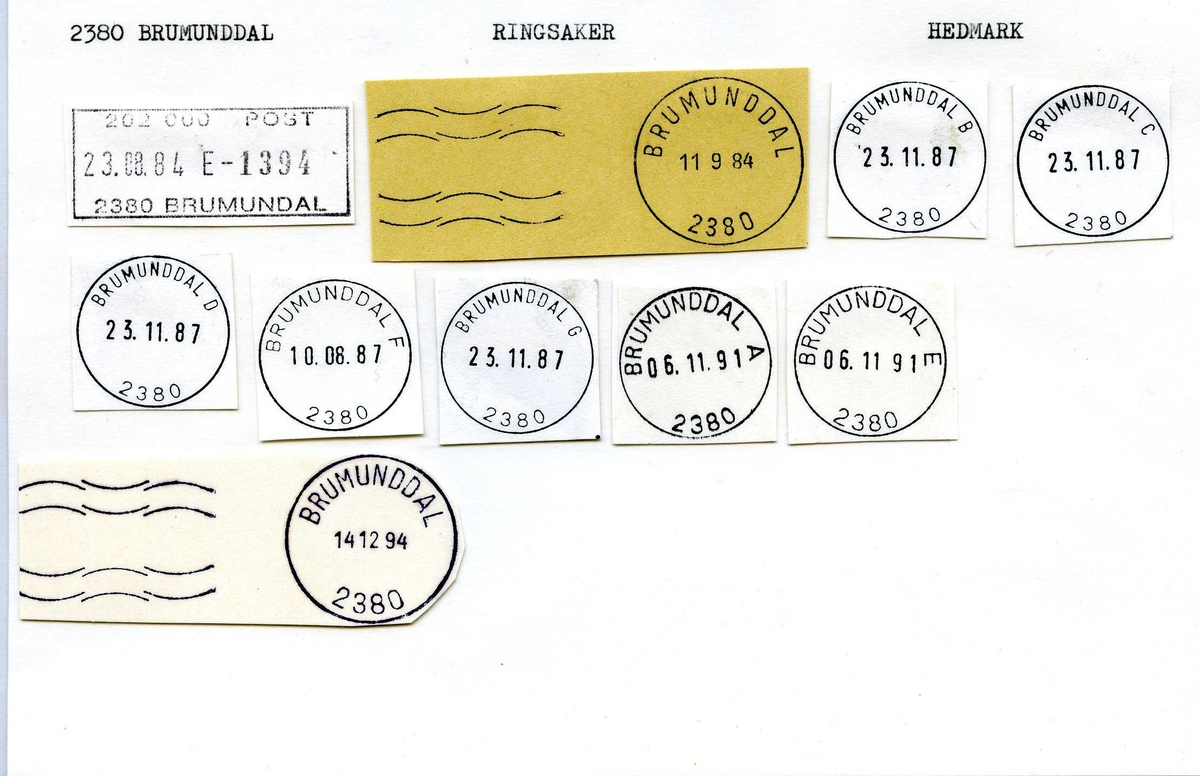 Stempelkatalog, 2380 Brumunddal, Ringsaker kommune, Hedmark