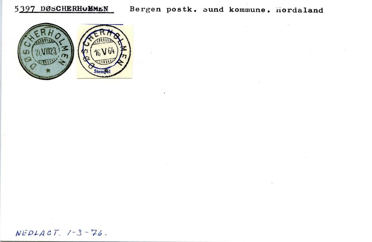 Stempelkatalog, 5397 Døscherholmen. Bergen postkontor. Sund kommune. Hordaland fylke.