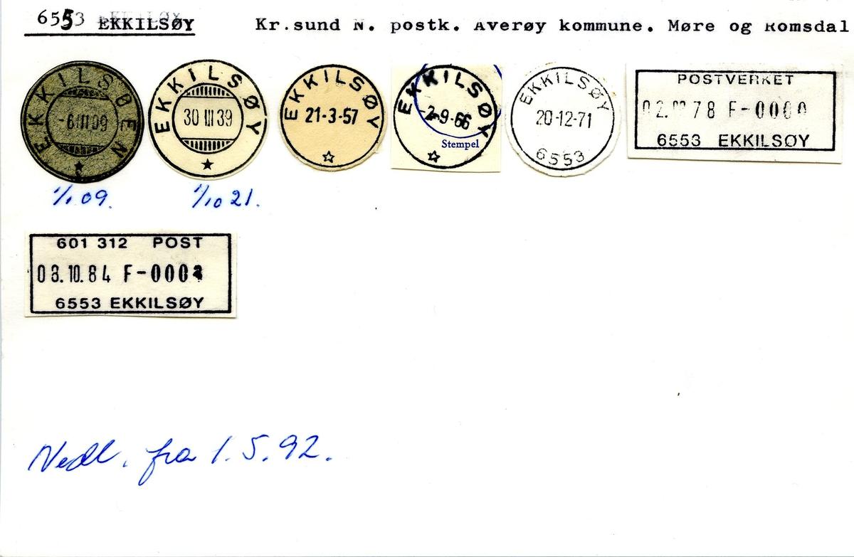 Stempelkatalog.6553 Ekkilsøy, Kr.sund, Averøy komm., Møre og Romsdal