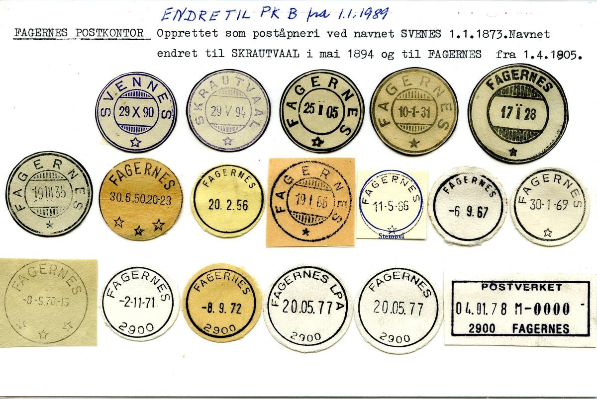 Stempelkatalog. 2900 Fagernes, (Svennes, Skrautvaal), Nord-Aurdal, Oppland