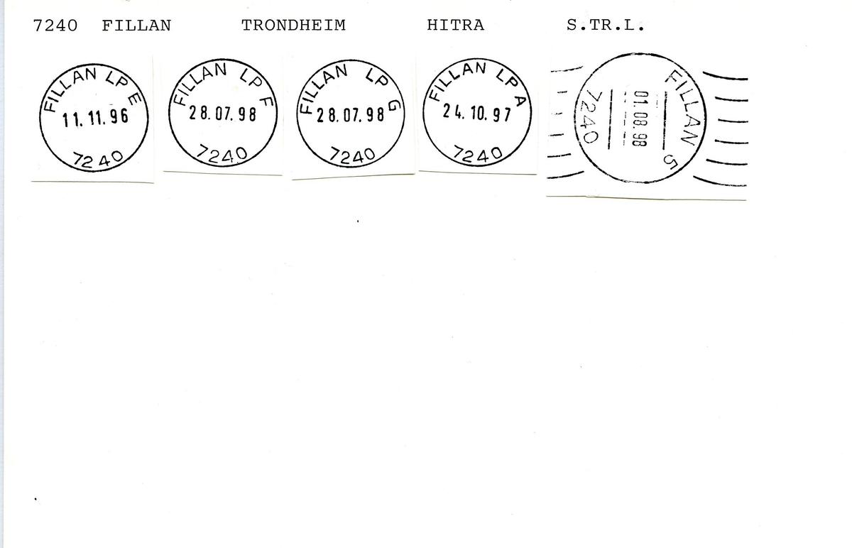 Stempelkatalog, 7240 Fillan, Trondheim postkontor, Hitra kommune, Sør-Trøndelag fylke.