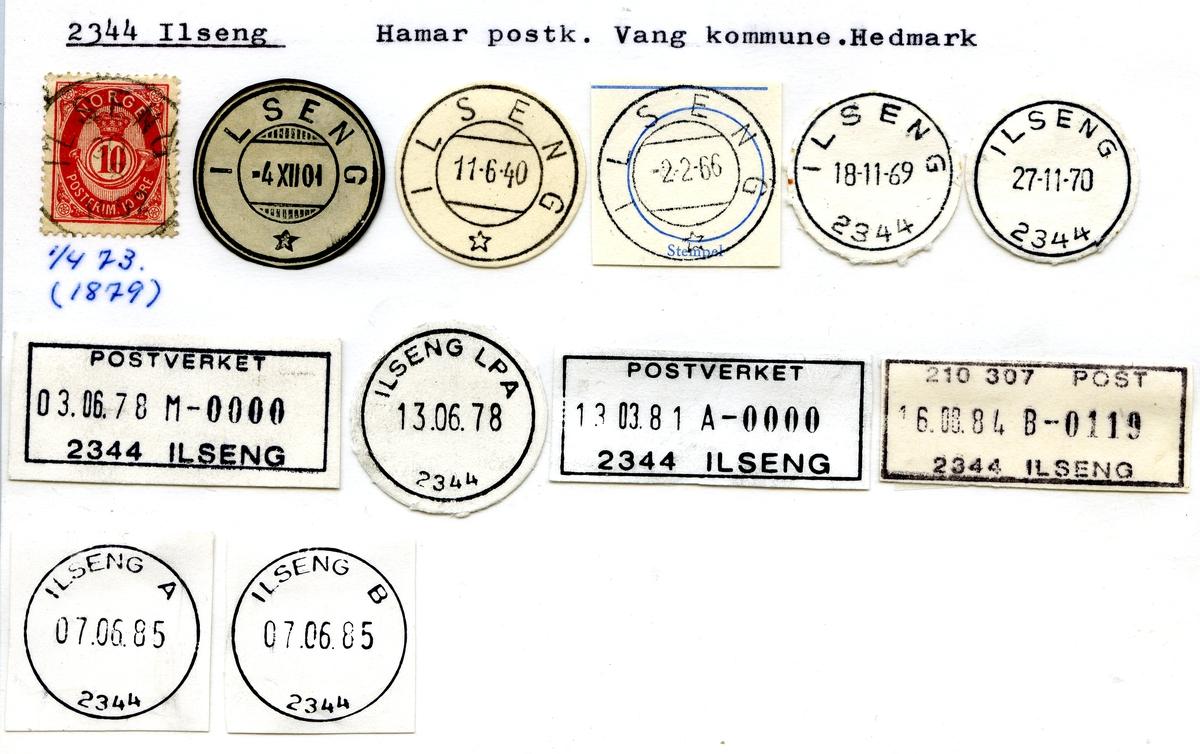 Stempelkatalog. 2344 Ilseng. Hamar postkontor. Vang kommune. Hedmark fylke.