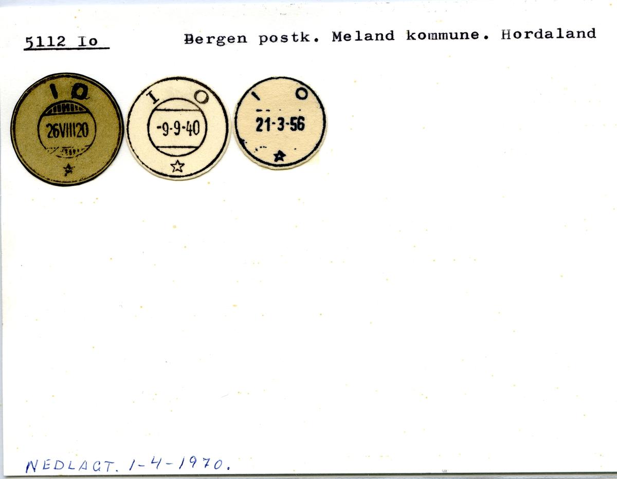 Stempelkatalog. 5112 Io, Bergen postk., Meland kommune, Hordaland