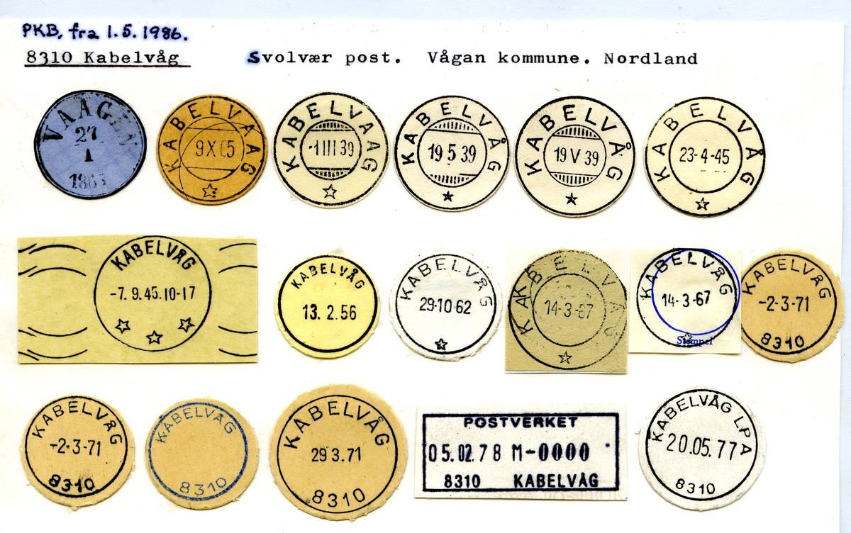 Stempelkatalog. 8310 Kabelvåg, Svolvær, Vågan kommune, Nordland