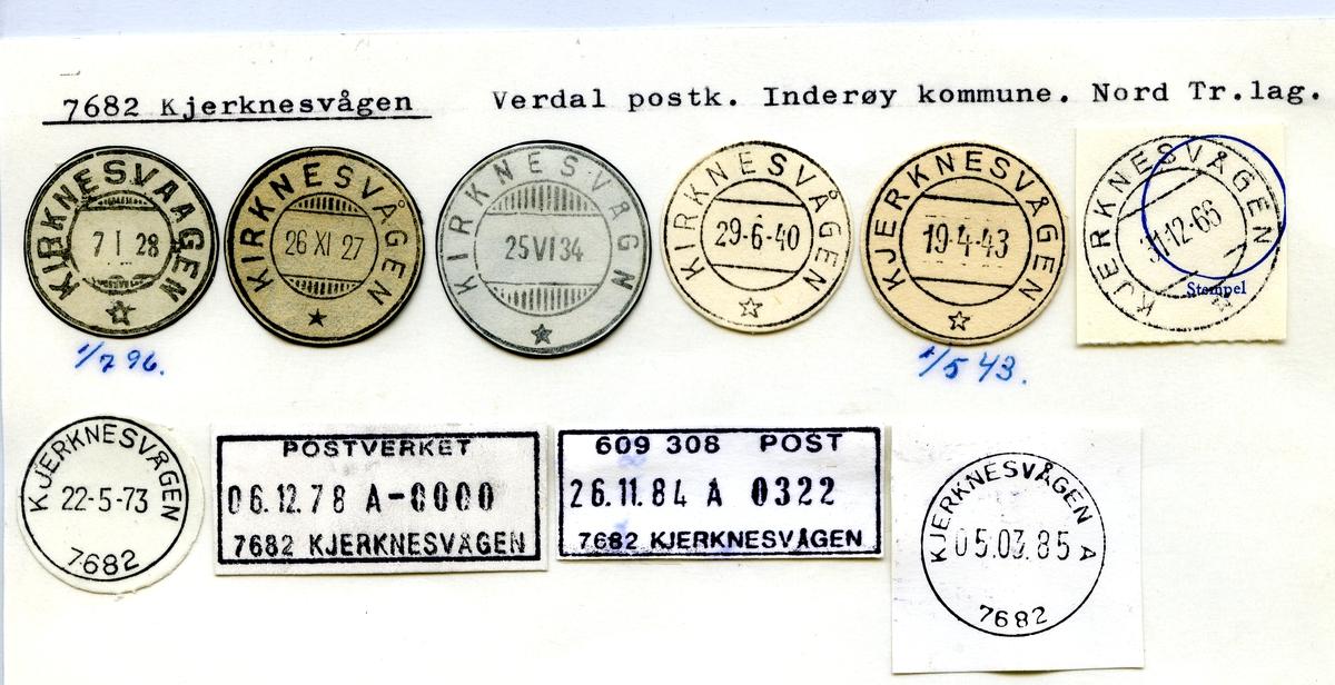 Stempelkatalog 7682 Kjerknesvågen, Verdal postk., Inderøy kommune, N.Tr.lag (Kirknesvaagen)
