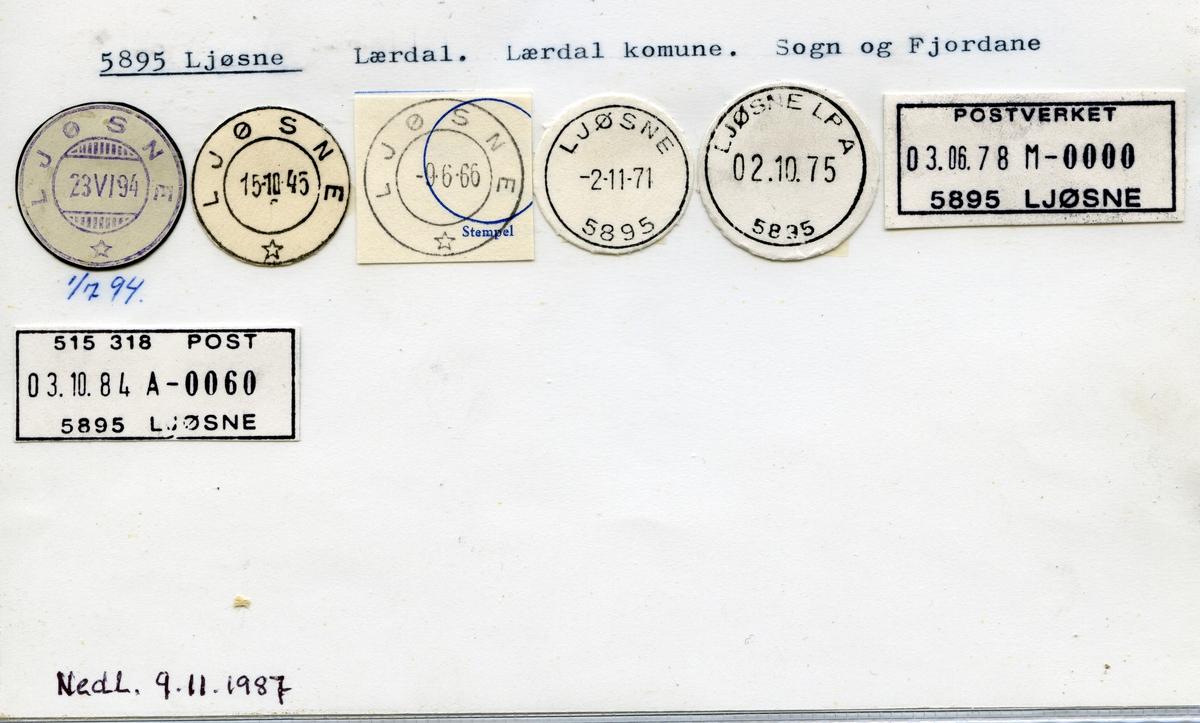Stempelkatalog, 5895 Ljøsne, Lærdal, Lærdal kommune, Sogn og Fjordane