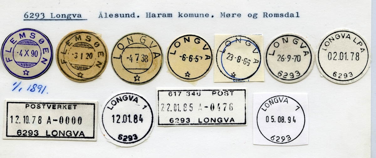 Stempelkatalog, 6293 Longva, Haram kommune, Møre og Romsdal (Flemsøen 1.1.1891)