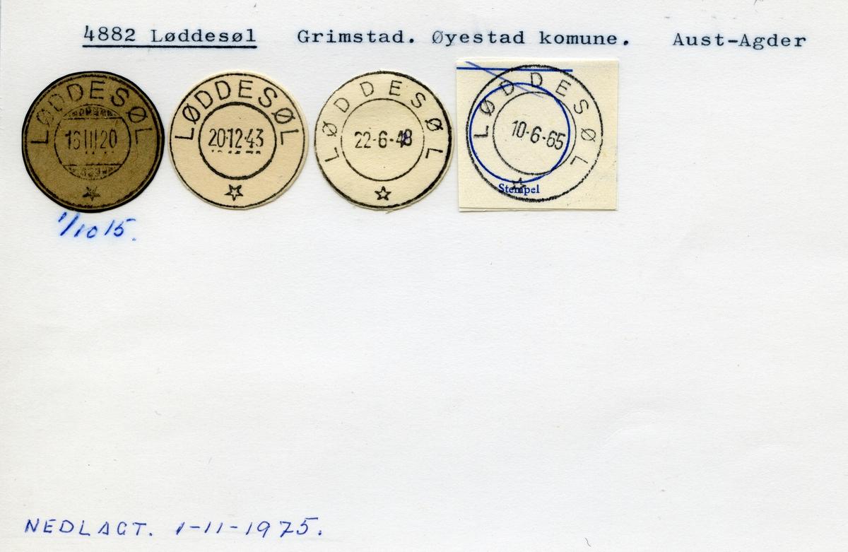 Stempelkatalog, 4882 Løddesøl, Grimstad, Øyestad kommune, Aust-Agder