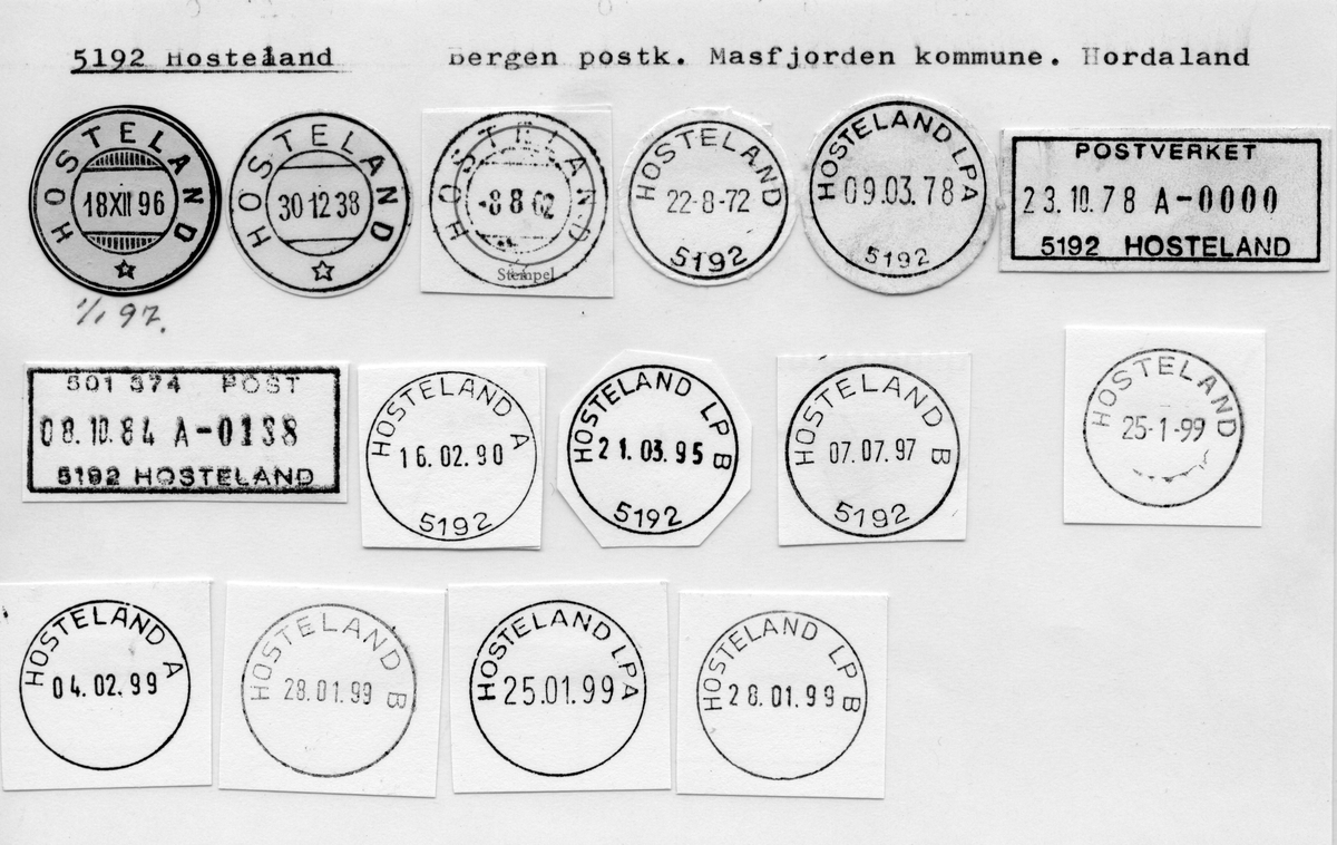Stempelkatalog. 5192 Hosteland, Bergen postk., Masfjorden kommune, Hordaland