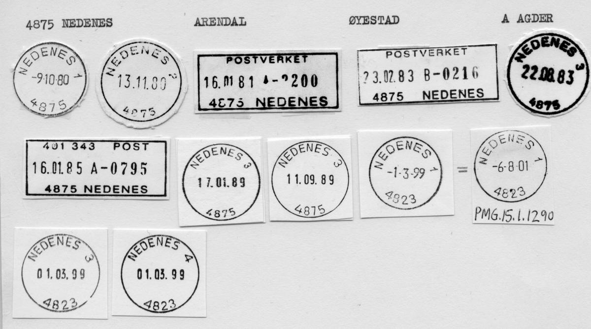 Stempelkatalog 4875 Nedenes, Arendal, Øyestad, Aust Agder
