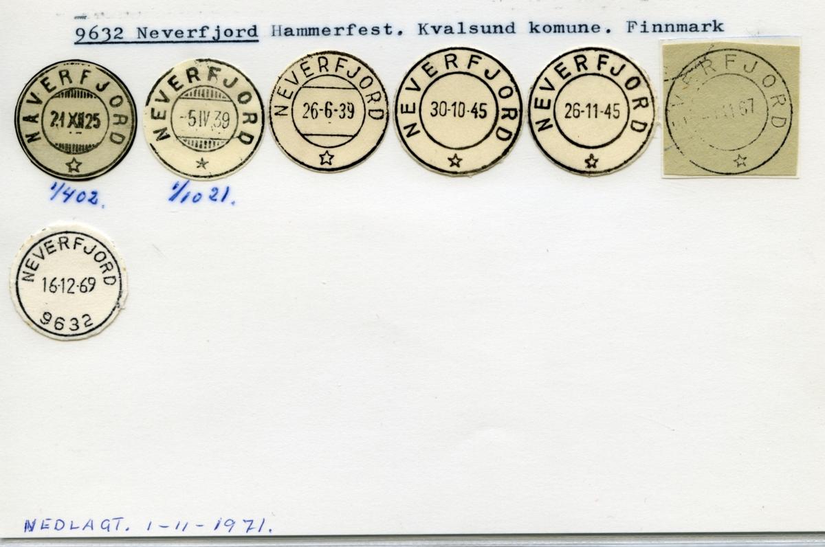 Stempelkatalog. 9632 Neverfjord. Hammerfest postkontor. Kvalsund kommune. Finnmark fylke.
