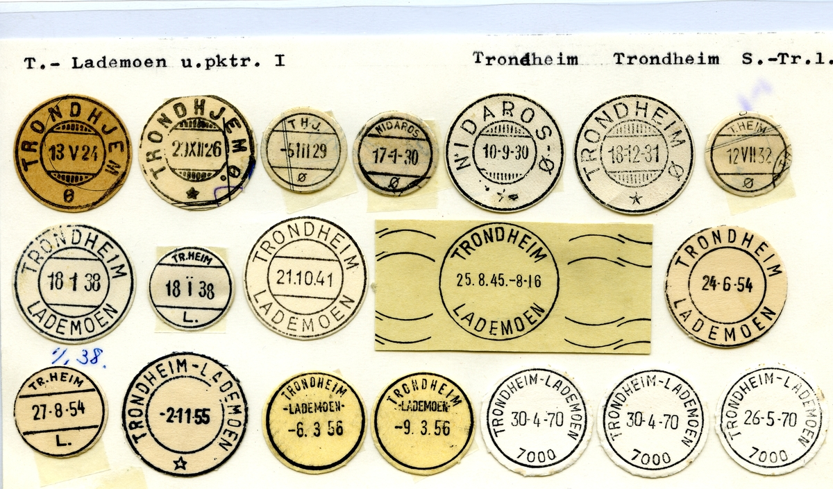 Stempelkatalog Lademoen (Trondhjem, T.H.J., Nidaros Ø, Trondheim Ø), Trondheim, Sør-Trøndelag