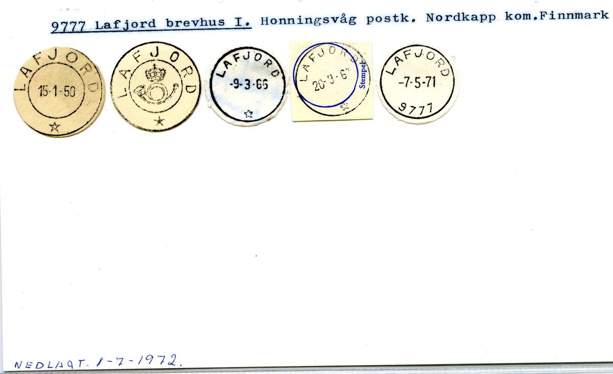 Stempelkatalog 9777 Lafjord, Honningsvåg, Nordkapp, Finnmark