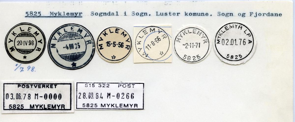 Stempelkatalog  5825 Myklemyr, Luster kommune, Sogn og Fjordane