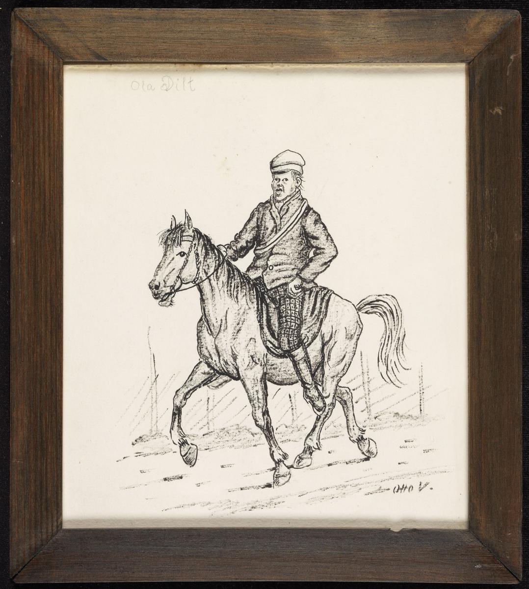 Vei m. hest og ridende gutt, venstrevendt.