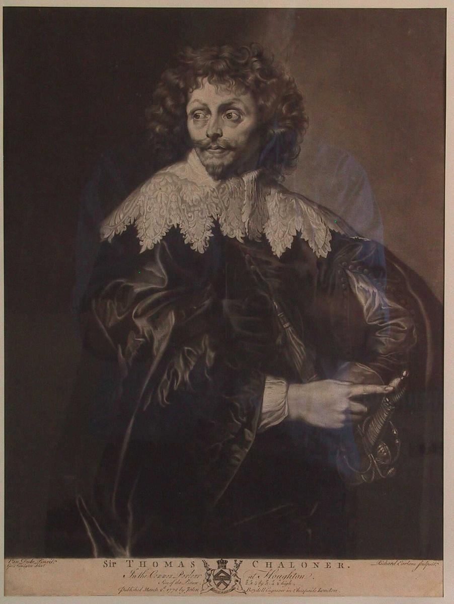 Portrett av Sir Thomas Chaloner. Knestykke, mann med langt krøllet hår, silkedrakt og vid   knplingskrave, kroppen h. vendt. hodet halvt v.vendt