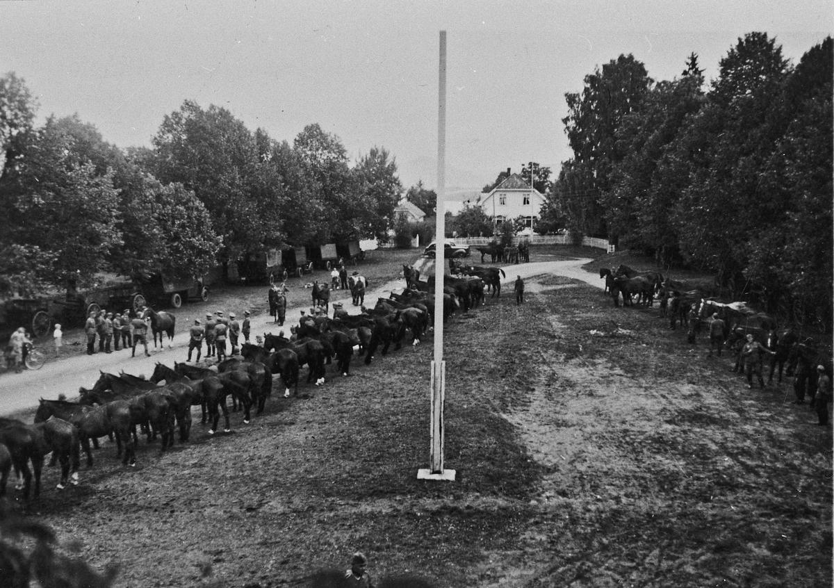 Samling av tyske soldater, hester og krigsmateriell ved Eidsvoll kirke.