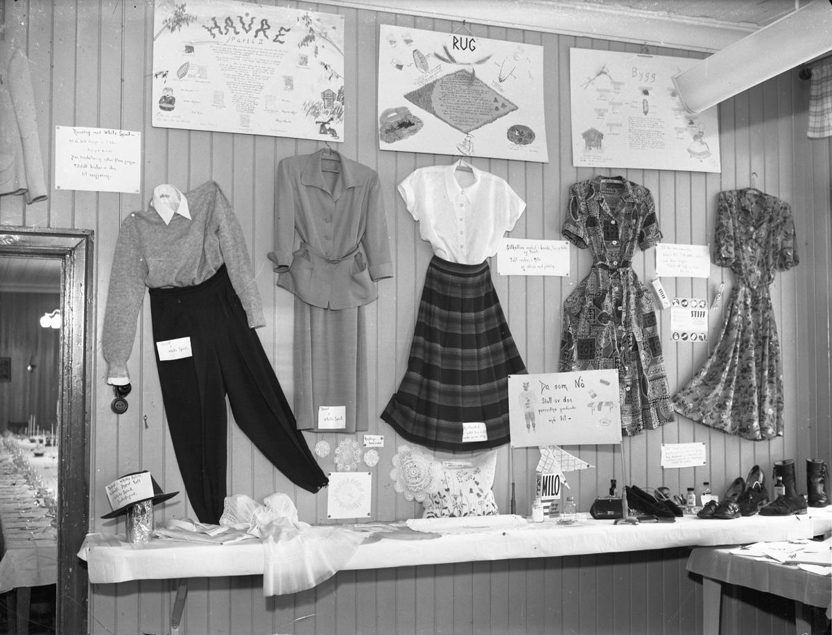 Utstilling av klær og håndarbeid. Som eksempel: hatten er dyppet i White Spirit og deretter sentrifugert.