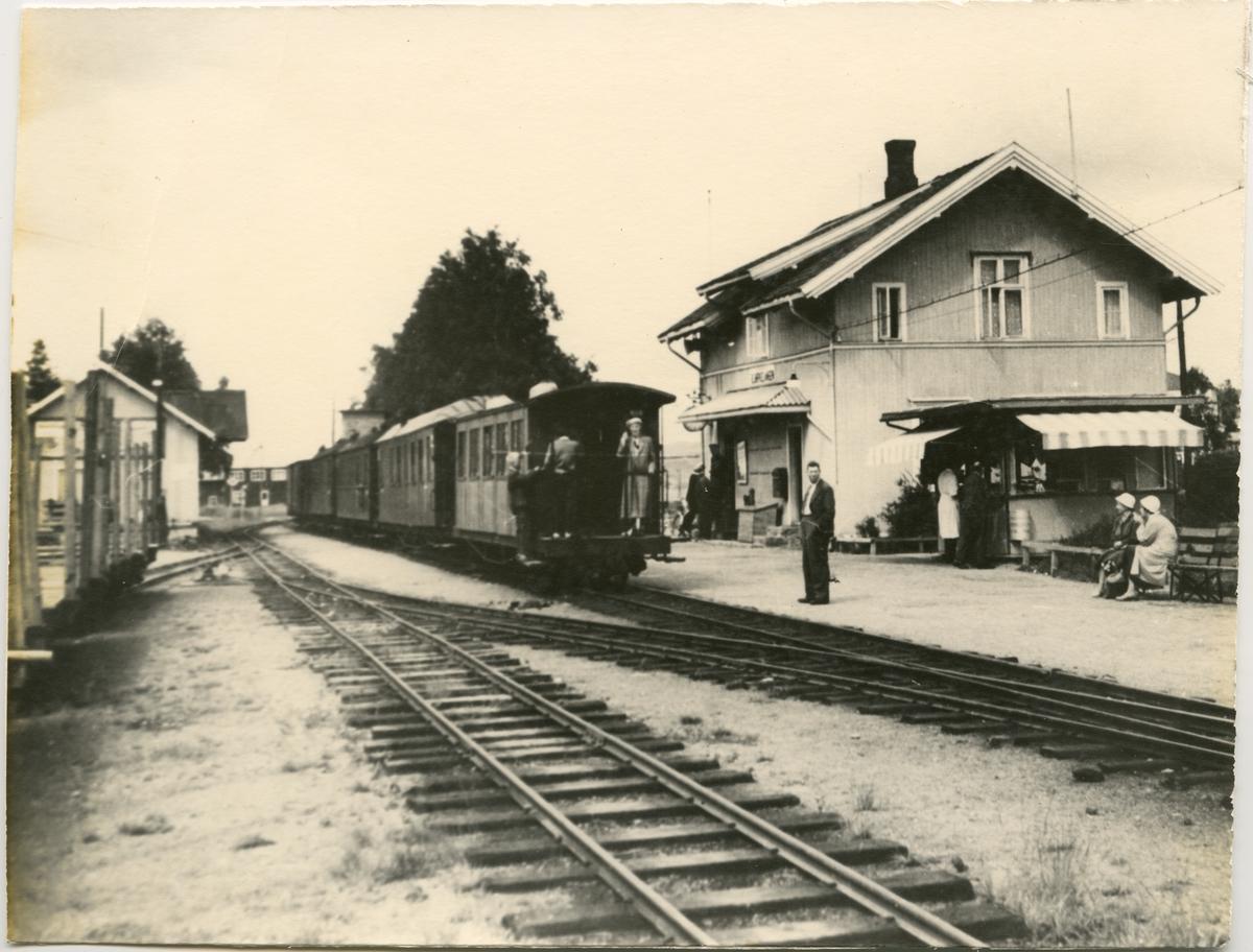 Bjørkelangen stasjon med diverse personvogner.