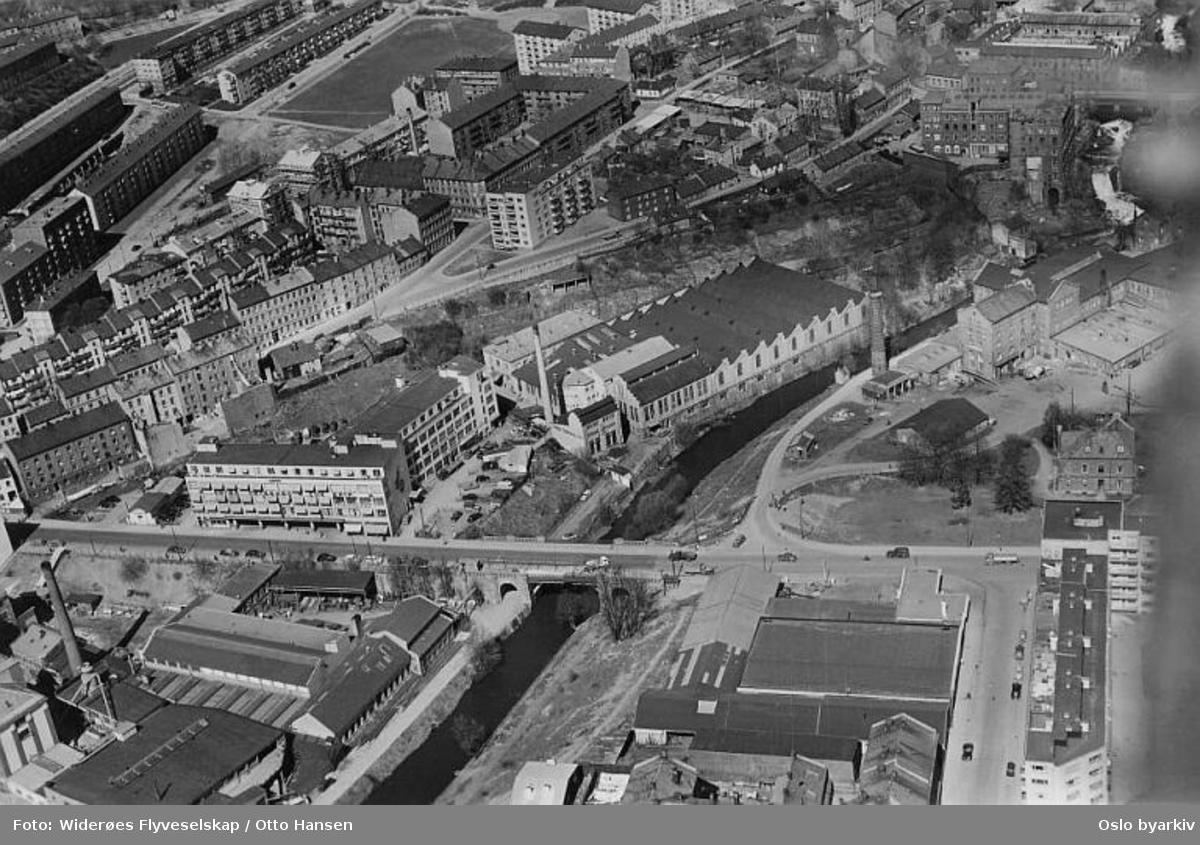 Sagveien, Knud Graah & co A/S, tidligere spinneribygning. Hjula veveri. Sannerbrua, Mølla, Akerselva, Beyerbrua (Flyfoto)