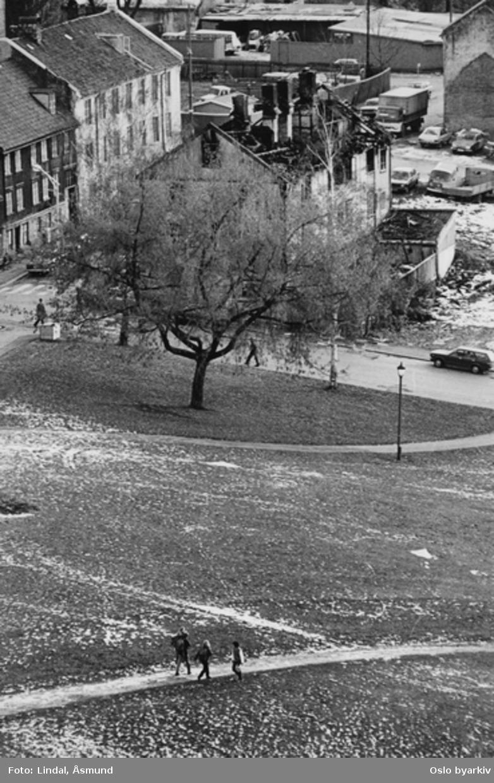 Øvre gate. Ny York. Grünerhagen park. Brannskadet hus. Fotografiet er fra prosjektet og boka ''Oslo-bilder. En fotografisk dokumentasjon av bo og leveforhold i 1981 - 82''. Kontakt Samfoto ved ev. bestilling av kopier.