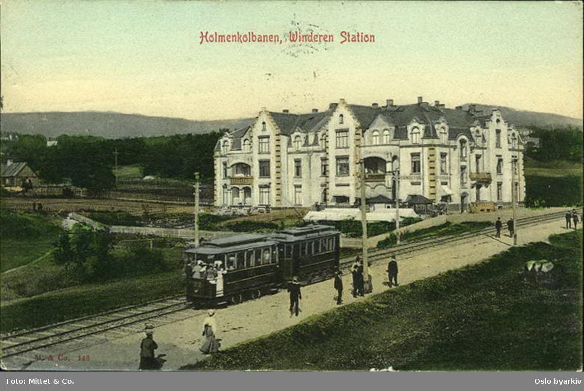 Holmenkollbanen 22 ved Vindern stasjon. Kolorert postkort med ref. 145.