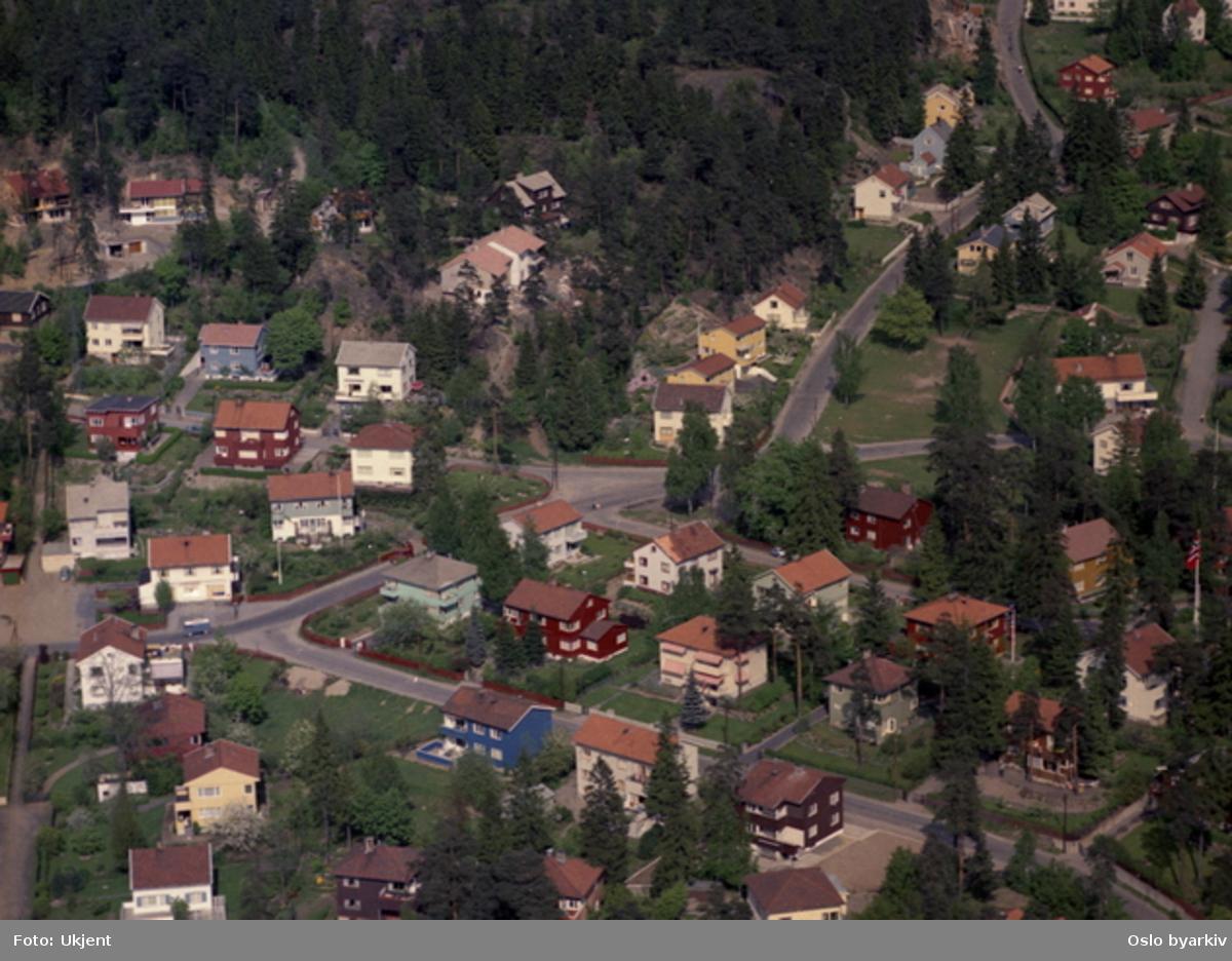 Villabebyggelse. Christian Schous vei, Frennings vei, Sophus Aars' vei, Ymers vei, Kildeveien, Årrundveien, Årrundkroken (Flyfoto)
