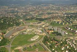 Industriområde på Ryen, med vognhall og verksted for T- bane